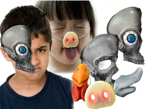 5-piece Set NOSE & SKULL Masks (NOSES: Pig, Shark, Rooster + 2pcs SKULLS)