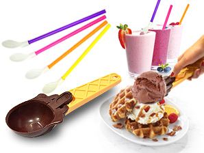 Ice Cream Scoop & 4 Spoon-Straws Set